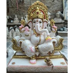 15 Inch Painted Lord Ganesha Statue