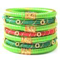 Indian Handcraft Silky Green Colourful Silk Thread Bangles