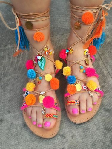 68aa9e73cd31cf Gladiator Pompom Leather Handmade Sandal - Ladies Unique Hippie Gladiator  Pompom Sandals Manufacturer from Ahmedabad