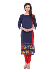 Dark Blue Cotton Panelled Printed Straight Kurta