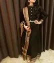 Anarkali Dress In Handloom Cotton Designed With A Turtle Neck And Pearl Buttons
