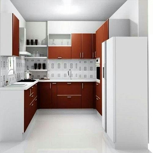 Small But Striking U Shaped Kitchen: Modern Brown And White U Shape Modular Kitchen, Rs 1400