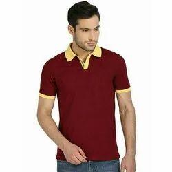 Plain Men Half Sleeves Collar T Shirt