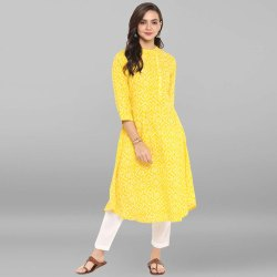 Yellow Pure Cotton Kurta With Pant(SET069)
