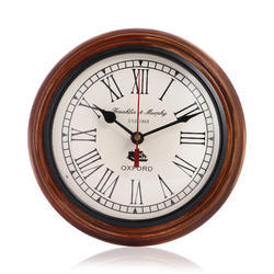 Brown 8 Inch Antique Look Wooden Wall Clock, Shape: Round