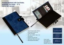 B73 Premium Notebook With Card Holder Bookmark  Pen Holder Can Be Laser Engraved