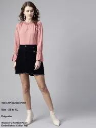 Ruffled Pearl Embellished Collar Top