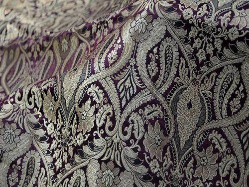 Silk Brocade Fabric Beige Gold Weaving Dresses