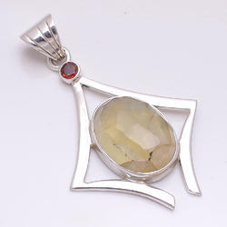 Prehnite / Garnet 925 Sterling Silver Pendant