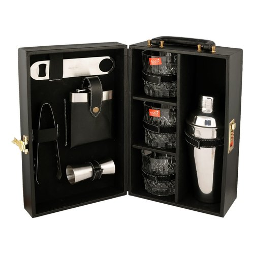 Black Portable Leatherette Briefcase Bar Set, Packaging Type: Box