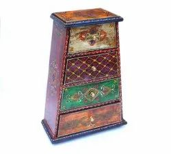 Colorful Vintage Big Size Wooden Chest Rack With 4 Wooden Drawer Hand Painted Home Use In Kitchen