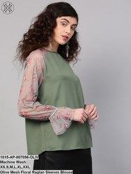 Olive Mesh Floral Raglan Sleeves Blouse