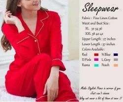 Full Length Cotton Ladies Night Suits, One top and pyjamas