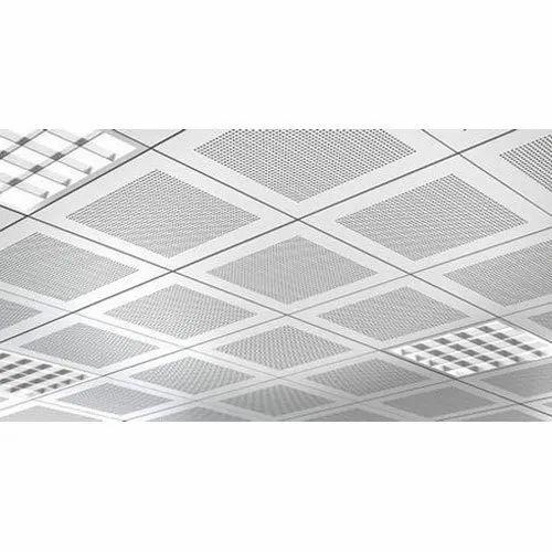 White Aluminium Grid Ceiling, Thickness: 8 mm