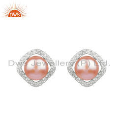 Gray Pearl CZ Gemstone Designer Sterling Silver Earrings
