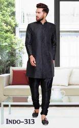Dot Exports Silk Mens Designer Black Indo Western