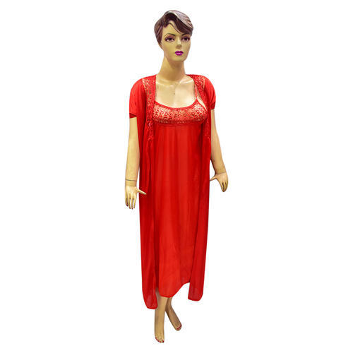 01af50d122 Ladies Satin Red 2 Piece Bedroom Nighty
