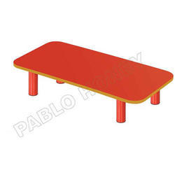 Red And Yellow Plastic Rectangle Desk