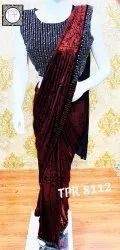 Archit Enterprise Red Indian Saree, 6 m (With Blouse Piece)