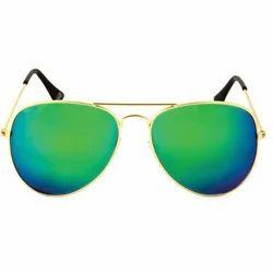 Golden Green Mercury Aviators Sun Goggles