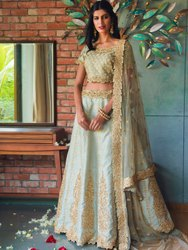 Women's Heavy Net Semi Stitched Lehenga Choli By Parvati Fabric (76628)