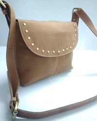 Flap Closure Designer Leather Messenger Bag
