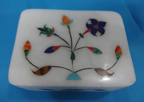 Jagdamba Marble Handicraft White Jewellery Box
