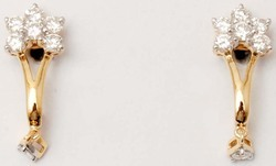 classic diamond clustter  hanging branched solid gold earring