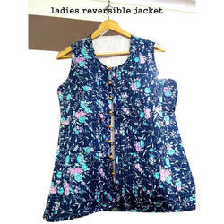 Blue Sleeveless Ladies Casual Wear Reversible Jacket