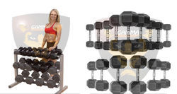 Dumbbell Rack with Hex Dumbbells