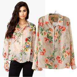 Cotton Ladies Printed Shirt