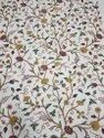 Cotton Duck Hand Embroidered Crewel Fabric
