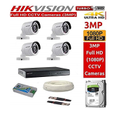 Hikvision Full Hd 3mp Cameras Combo Kit 4ch Hd Dvr 4 Bullet Cameras 1tb Hard Disc Wire Roll Sup