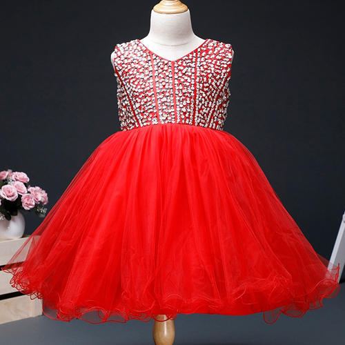 d43efb2667ddd Charming Red Sleeveless Embroidered Dress