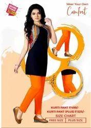 Plain Lycra Cotton Comfort Orange Ladies Kurti Pant, Size: Free Size, Wash Care: Handwash