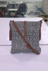 Sling New Messenger Bag Vintage Cotton Rug With Leather Trim, Size: 10x14