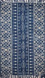 Indigo Blue Cotton Block Print Area Accent Dhurrie Rug Hand Woven Paddle Weave