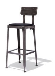 Industrial Rustic Finish Bar Stool With Leather Seat