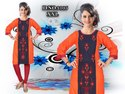 Embroidered Rayon And Georgette Kurti