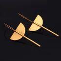 Statement Gold Finish Geometric Minimalist Earrings