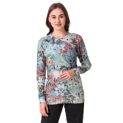 Blue Woolen Printed Knitted Top