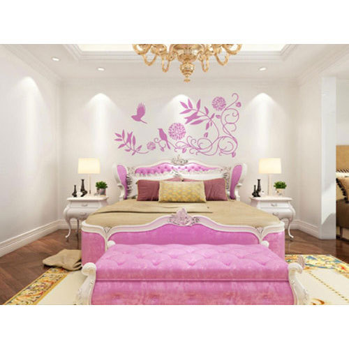 White And Pink Pvc Nature Bedroom Wallpaper