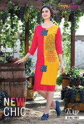 Tulip Rayon with Embroidery Red And Yellow Kurti