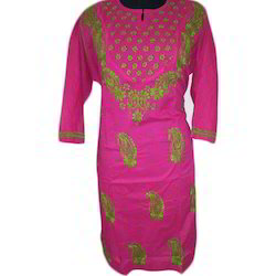Cotton Embroidered Chikankari Kurti, Size: S, M and L