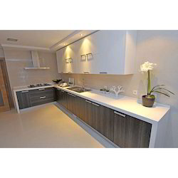 Plywood And MDF & Particle Board L Shaped Modular Kitchen