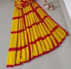 Bagru Shibori Print Pom Pom Lace Cotton Saree