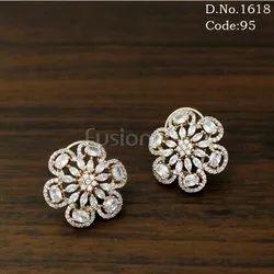 American Diamond Designer Stud Earrings with CZ Stones