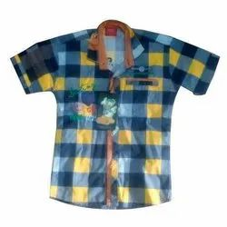 Party Wear Kids Checkered Cotton Shirt, Packaging Type: Packet