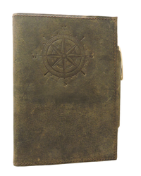 Compass Embossed Button Closure Handmade Leather Journal
