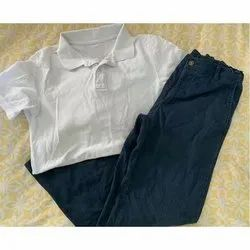 Summer Blue and White Boys Cotton School Uniform, Packaging Type: Packet